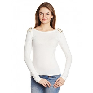 Miss Chase Women's Studed Long Sleeve Top