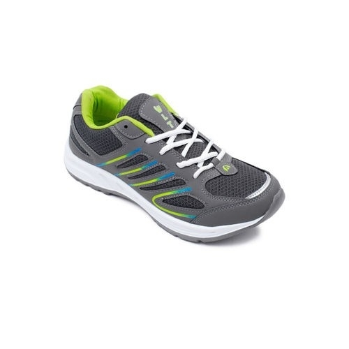 Asian Men Gray And Green Lace-up Training Shoes