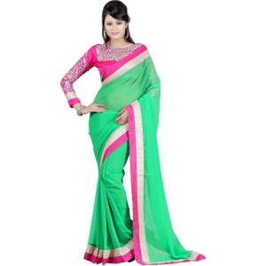 Janasya Chiffon Green Sarees
