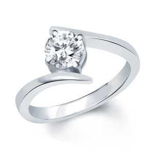 VK Jewels Rhodium Plated solitare Ring for Women - FR1028R Size 10 [VKFR1028R10]