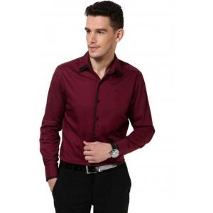 Dazzio Maroon Solid Cotton Casual Shirt