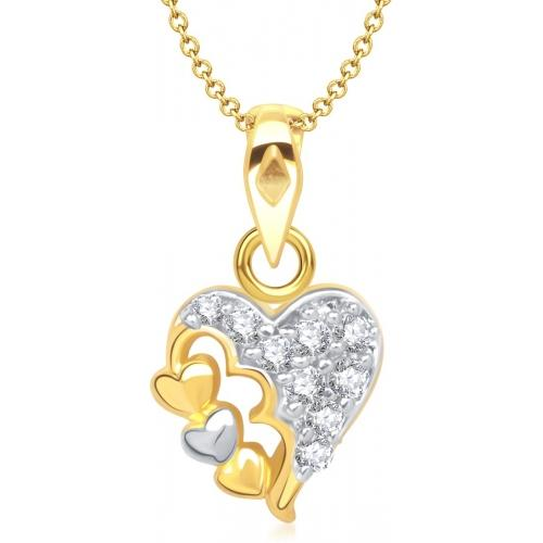 VK Jewels Two Tone Heart Shape 18K Yellow Gold Plated Cubic Zirconia Alloy Pendant