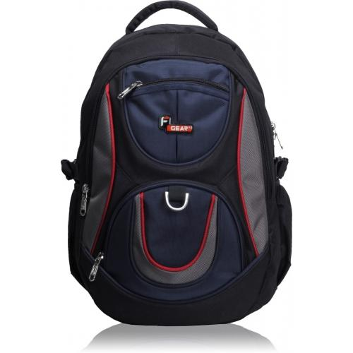 F Gear Navy Blue & Black Polyester Solid Backpack