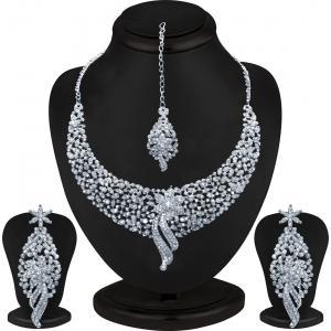 Sukkhi Silver Diamond Zinc Necklace Set