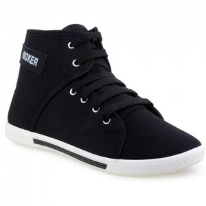 SHOEFLY Black Canvas Lace Up High Ankle Casual Shoes