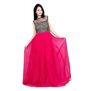 Bhoomi Creation Pink Georgette Embroidered Gown