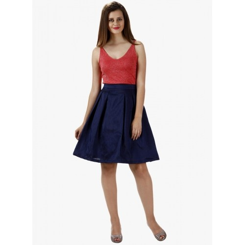 Miss Chase Navy Blue Polyester Pleated Skirt
