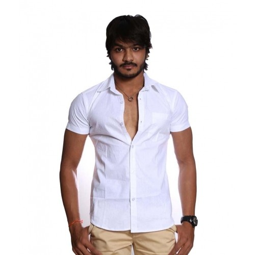 Buy Venga White Cotton Solids Half Sleeves Casuals Shirt For Men ...