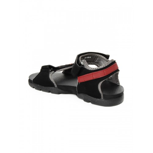 Sparx Black Synthetic Athletic & Outdoor Sandals