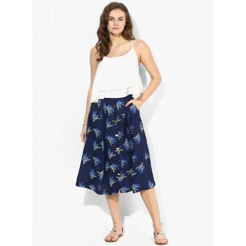 400e794eb28d Buy Tokyo Talkies Navy Blue Pleated Midi Skirt online | Looksgud.in