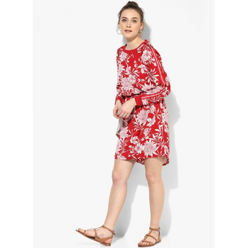 Only Red Coloured Printed Shift Dress