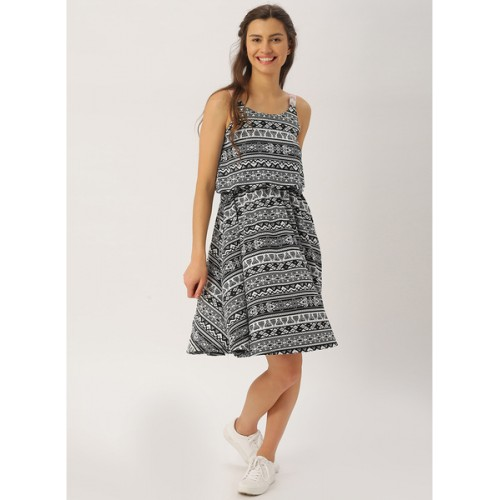 Dressberry Black Printed Coloured Skater Dress