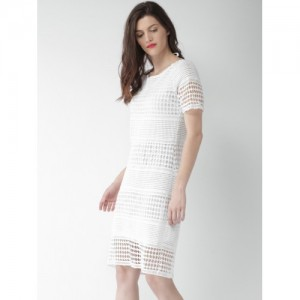Mast & Harbour White Self Pattern Shift Dress