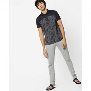 Sweet Dreams Black Textured Polo T-shirt with Pyjama Set