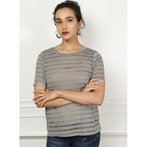all about you Women Grey Striped Round Neck T-shirt