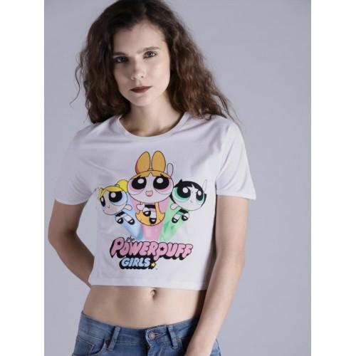 Buy Powerpuff Girls Women White Printed Round Neck Crop T-shirt ... de82cf074a