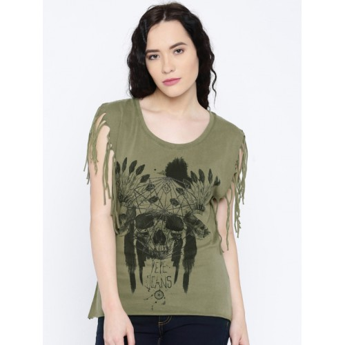 Pepe Jeans Women Olive Printed Round Neck T-Shirt