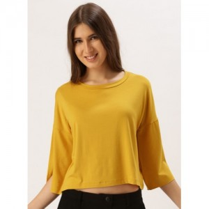 Dressberry Mustard Yellow Viscose Blend Solid Crop Top