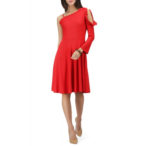 Eavan Red Solid Fit and Flare Dress