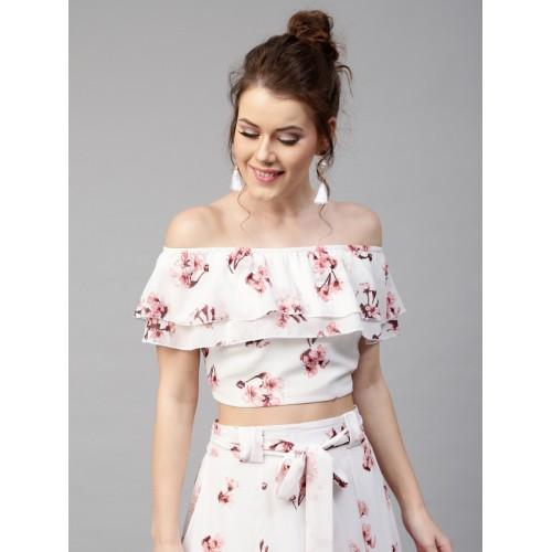 SASSAFRAS Women White Floral Print Layered Crop Bardot Top