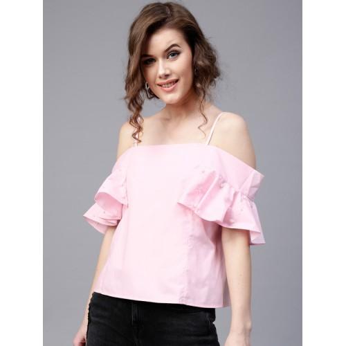 47527d1138fb2f Buy SASSAFRAS Women Pink Solid Bardot Top online | Looksgud.in