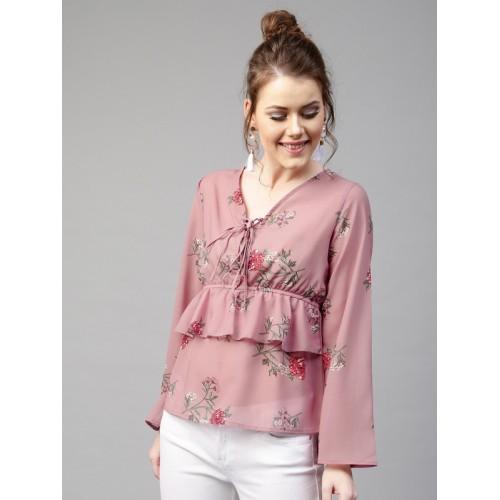 ea4eab032c4 Buy SASSAFRAS Women Mauve Layered Floral Print Top online
