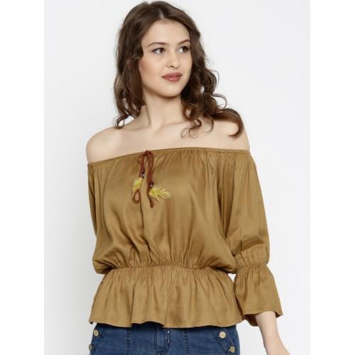 3f9c5d18ed422a Buy SASSAFRAS Women Brown Solid Bardot Top online | Looksgud.in