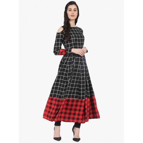 Nayo Black Checked Cold Shoulder Kurta