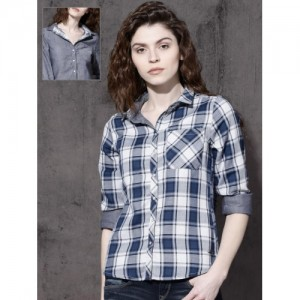 Roadster Women Blue & White Regular Fit Checked Reversible Casual Shirt