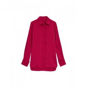 next Women Magenta Comfort Regular Fit Striped Casual Shirt