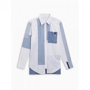 next Women White & Blue Regular Fit Solid Casual Shirt