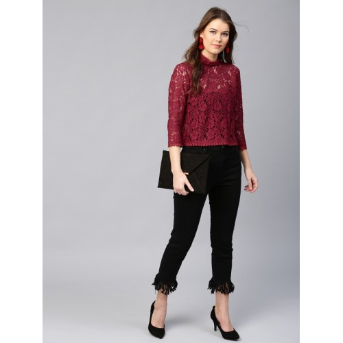 SASSAFRAS Women Maroon Lace Top