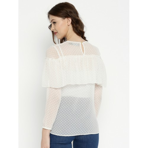 1f93634b3 Buy SASSAFRAS Women Off-White Swiss Dot Layered Sheer Top online ...