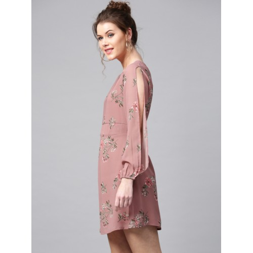 SASSAFRAS Dusty Pink Floral Print Fit & Flare Dress