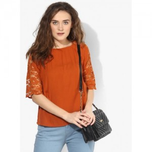 Only Orange Solid Blouse