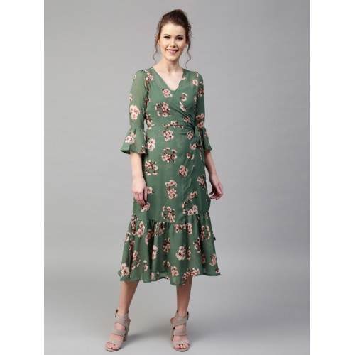 SASSAFRAS Women Green Floral Print Layered Midi Wrap Dress