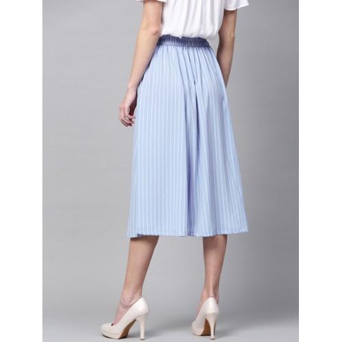 SASSAFRAS Blue & White Midi Flared Skirt