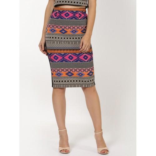 SASSAFRAS Black Jacquard Patterned Pencil Skirt