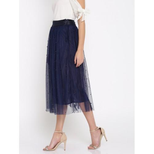 e70cb8c224 Buy SASSAFRAS Navy Blue Studded A-Line Midi Skirt online | Looksgud.in