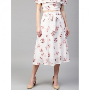SASSAFRAS White & Peach-Coloured Floral Print Midi Flared Skirt