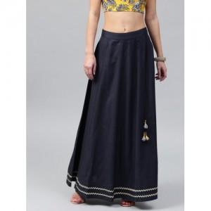 SASSAFRAS Navy Solid Maxi Flared Skirt