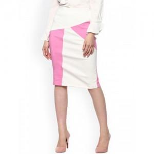 SASSAFRAS Pink & White Colourblocked Pencil Skirt
