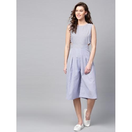407a04f4ecc9 Buy SASSAFRAS Blue   White Cotton Striped Culotte Jumpsuit online ...
