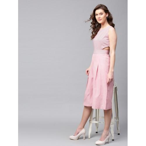 507c742a95e Buy SASSAFRAS Pink Cotton Striped Culotte Jumpsuit online