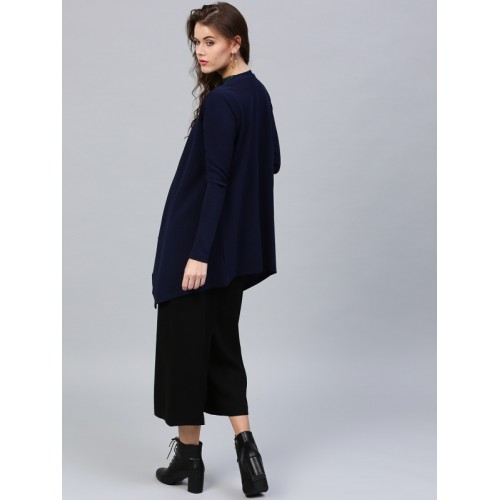 SASSAFRAS Navy Solid Waterfall Shrug