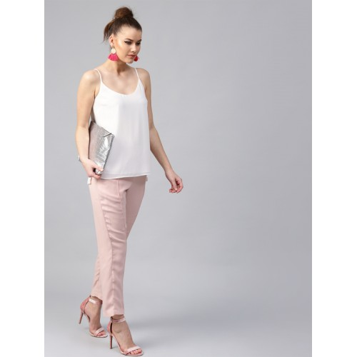 SASSAFRAS Women Pink Regular Fit Solid Cigarette Trousers