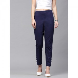 SASSAFRAS Women Navy Blue Regular Fit Solid Cropped Trousers