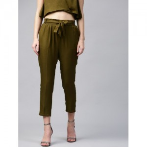 SASSAFRAS Women Olive Green Regular Fit Solid Peg Trousers