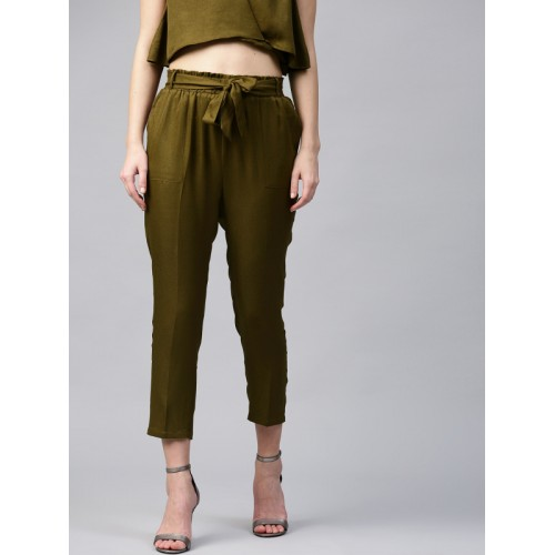 SASSAFRAS Women Olive Green Regular Fit Solid Peg Trousers