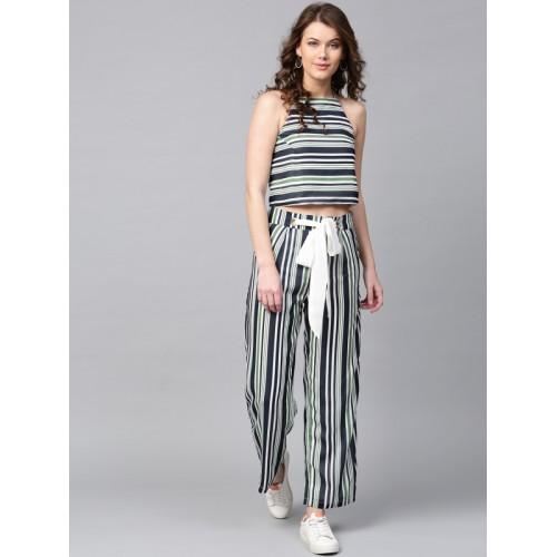 SASSAFRAS Women Navy Blue & Green Striped Parallel Trousers